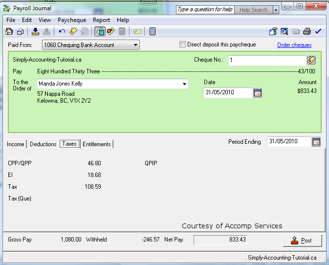 Simply Accounting Payroll Software
