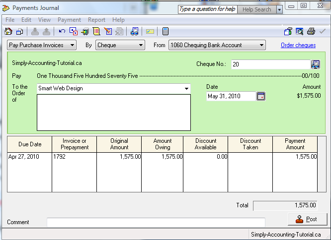 Making a payment in Payment Journal