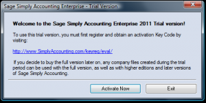 Activation dialog box for Sage Simply Accounting 2011