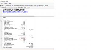 Balance sheet for AR