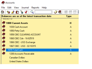 chart of account cash account