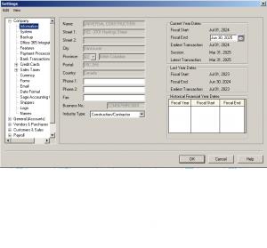 settings company information